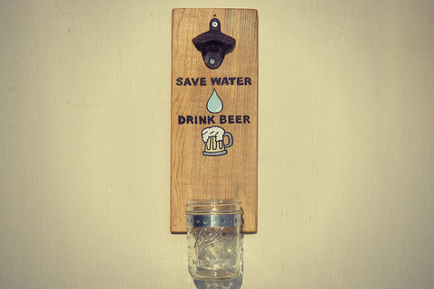 Save Water Drink Beer Cap Catching Bottle Opener Cranberry Collective