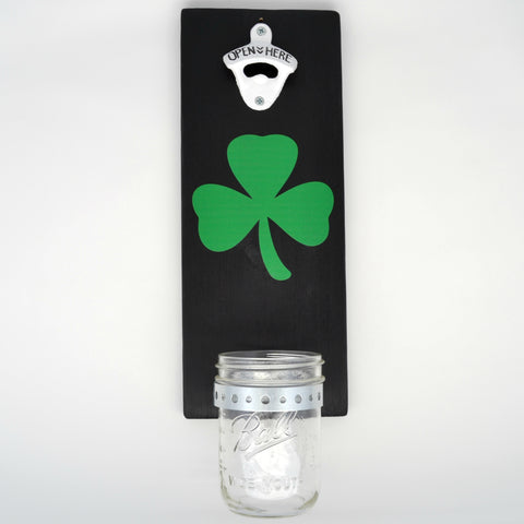 Shamrock - Wall Mounted Bottle Opener with Cap Catcher