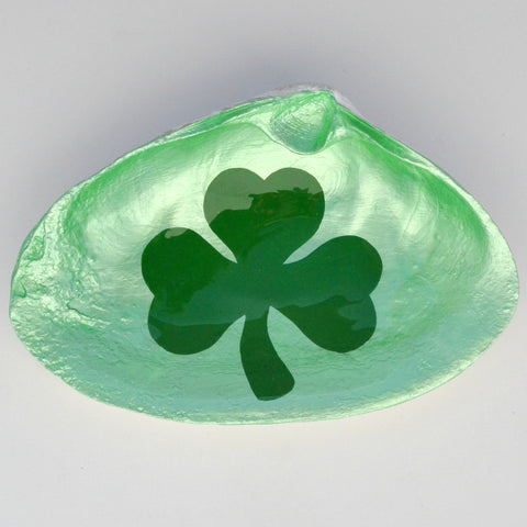 Shamrock Clam Shell Dish | Jewelry Dish - Spoon Rest - Soap Dish - Cranberry Collective - Cape Cod Gifts - Beach and Nautical Decor
