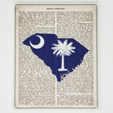 South Carolina Flag Canvas Wall Decor - 8x10 Decorative SC State Map Silhouette Encyclopedia Art Print - Carolina Decorations