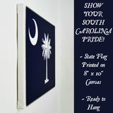 South Carolina Flag Decor - 8x10 SC State Flag Canvas - Ready To Hang South Carolina Decor