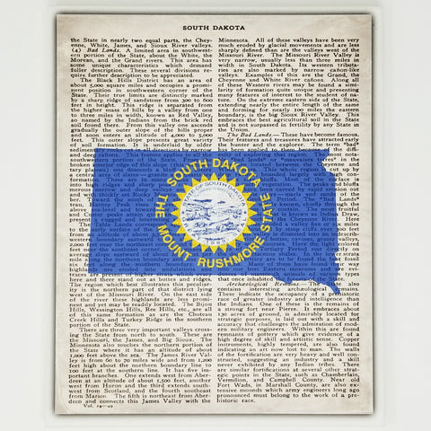 South Dakota Flag Canvas Wall Decor - 8x10 Decorative SD State Map Silhouette Encyclopedia Art Print - S.Dak. Decorations