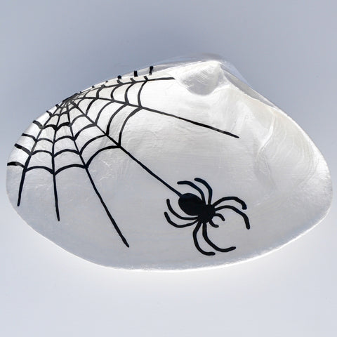 Spider Halloween Clam Shell Dish | Jewelry Dish - Spoon Rest - Soap Dish - Cranberry Collective - Cape Cod Gifts - Beach and Nautical Decor