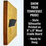 Tennessee Wall Decor - 8x8 Decorative TN Map Wood Box Sign - Ready To Hang Tennessee Decor