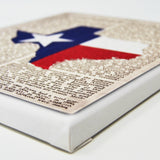 Texas Flag Canvas Wall Decor - 8x10 Decorative TX State Map Silhouette Encyclopedia Art Print - Lone Star Decorations