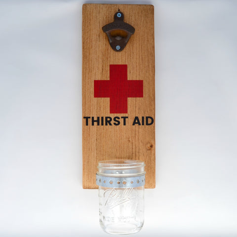 Thirst Aid - Wall Mounted Bottle Opener with Cap Catcher