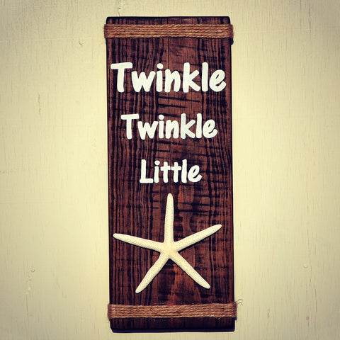 Twinkle Twinkle Little Star Reclaimed Wood Sign with Decorative Starfish - Cranberry Collective - Cape Cod Gifts - Beach and Nautical Decor
