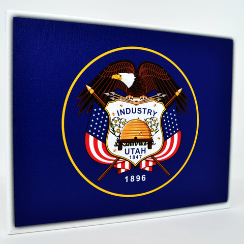 Utah Flag Decor - 8x10 UT State Flag Canvas - Ready To Hang Utah Decor