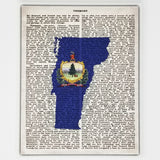 Vermont Flag Canvas Wall Decor - 8x10 Decorative Vermont State Map Silhouette Encyclopedia Art Print - VT Decorations