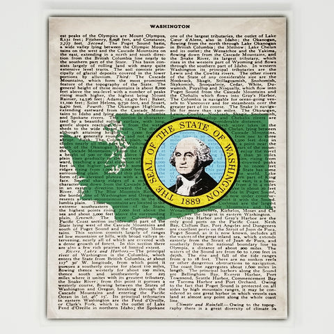 Washington Flag Canvas Wall Decor - 8x10 Decorative WA State Map Silhouette Encyclopedia Art Print - WASH Decorations