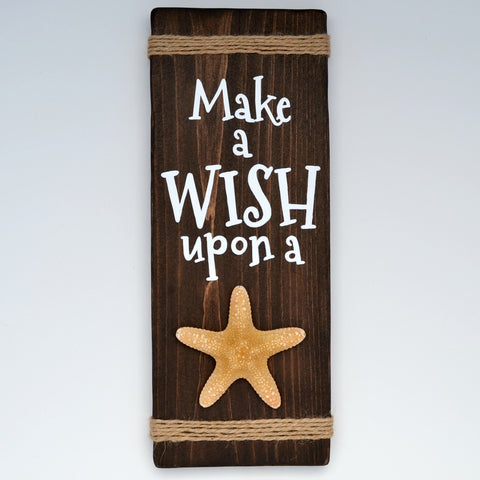 Make a Wish Upon a Star Reclaimed Wood Sign with Decorative Starfish - Cranberry Collective - Cape Cod Gifts - Beach and Nautical Decor