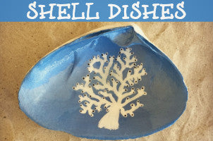 Cranberry Collective Painted Sea Clam Shell Dishes