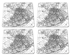 19th Century Ordnance Survey Map Postcode Centered Placemat - Set of four