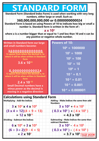 GCSE maths posters to support the study and revison of standard index form, a method for working with very large numbers.