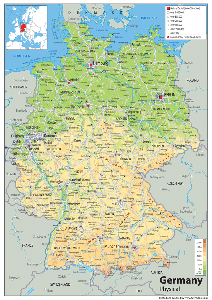 Germany Physical Map Tiger Moon