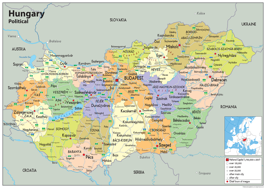 Hungary Political Map.Hungary Political Map Tiger Moon
