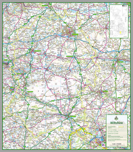 map of Wiltshire, a county in England, UK.  This map covers the city of Salisbury and the towns:          Amesbury         Bradford-on-Avon         Calne         Chippenham         Corsham         Cricklade         Devizes         Highworth         Larkhill         Ludgershall         Malmesbury         Marlborough         Melksham         Mere         Royal Wootton Bassett         Swindon         Tidworth         Trowbridge         Warminster         Westbury         Wilton