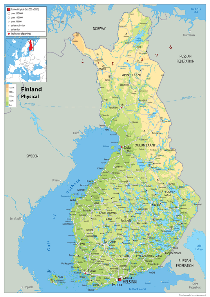 Finland Physical Map Tiger Moon