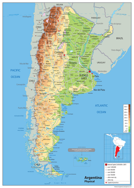 Argentina Physical Map Tiger Moon