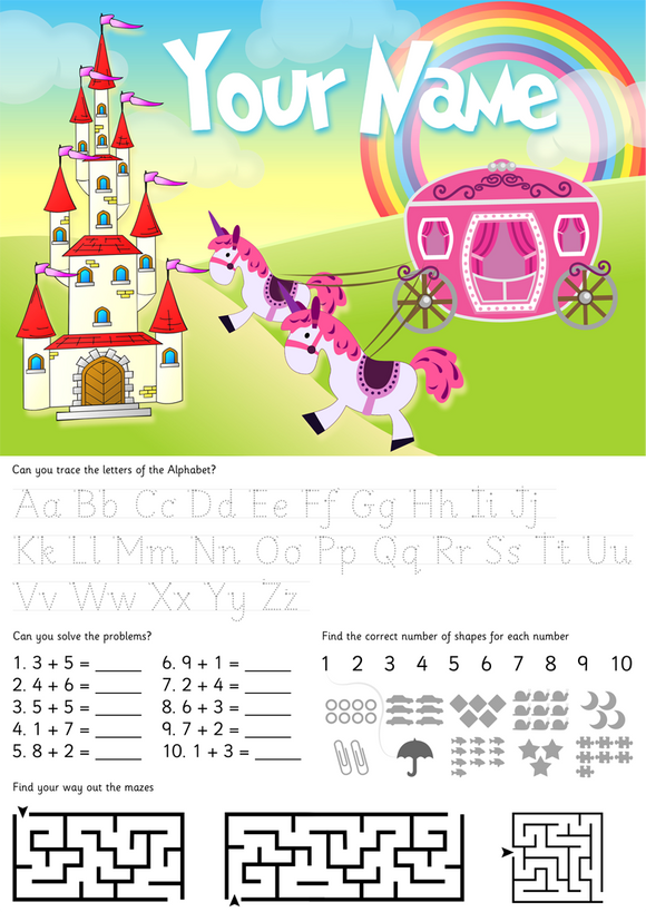 Personalised Double-sided Fairy Castle and Games Table Placemat