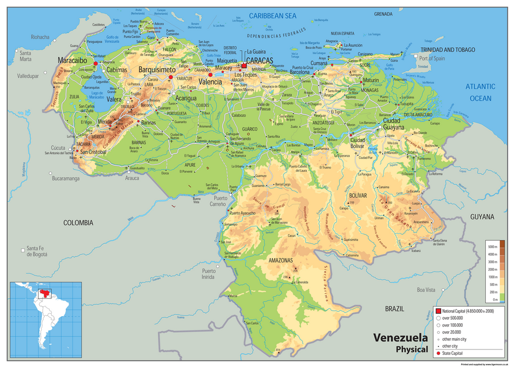 Venezuela Physical Map Tiger Moon - Physical of map venezuela
