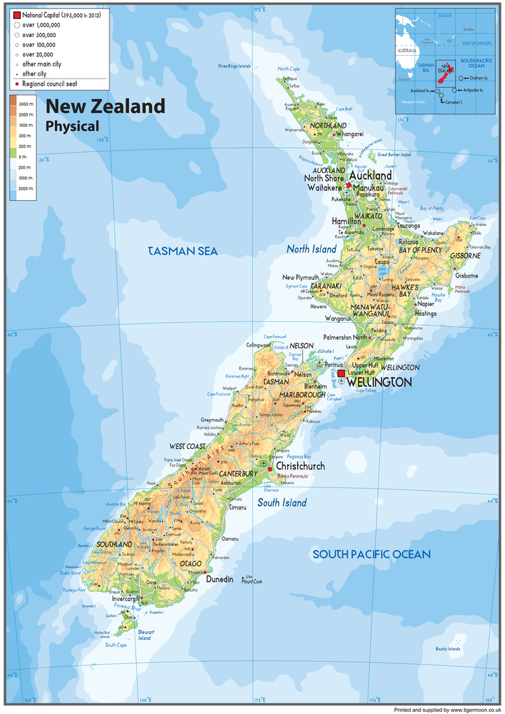 New Zealand Physical Map Tiger Moon