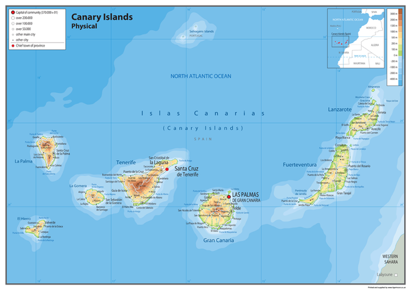 Canary Islands Physical Map Tiger Moon