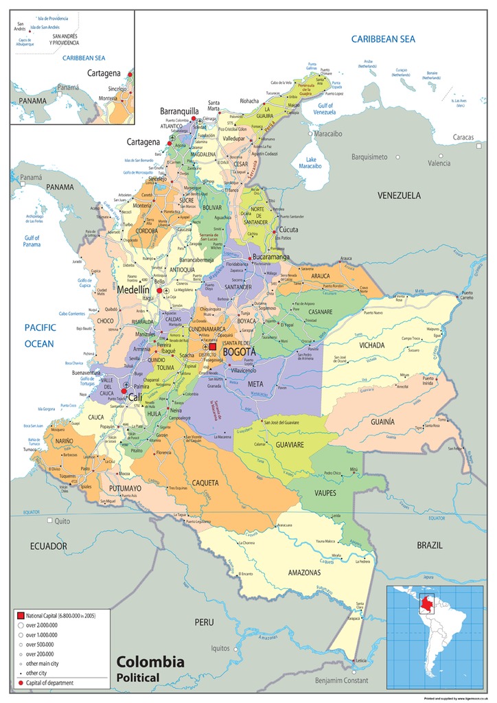 Colombia Political Map – Tiger Moon