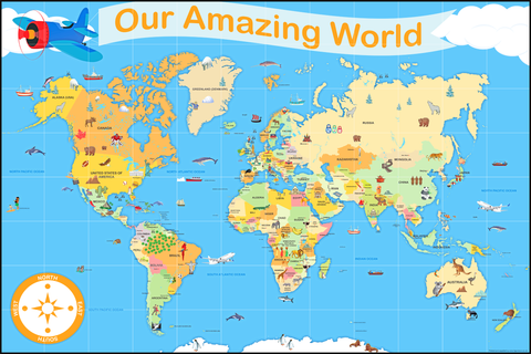 Our Amazing World Vinyl Map Size with 15 cm grid (Suitable for use by children with Programmable Floor Robots such as Bee-Bots)
