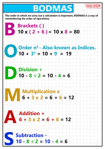 GCSE posters to support the study and revison of BODMAS. The BODMAS acronym is for: Brackets (parts of a calculation inside brackets always come first), orders (numbers involving powers or square roots), division, then multiplication, addition ans finally subtraction.