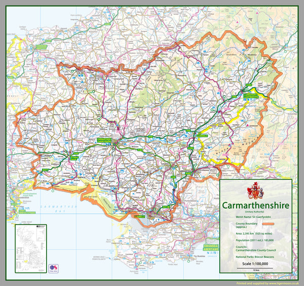 Carmarthenshire County Map Tiger Moon