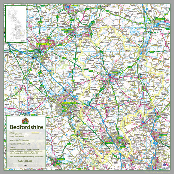 Bedfordshire, a county in the East of England, UK.  This map covers the towns      Luton     Bedford          Dunstable     Leighton Buzzard     Kempston     Houghton Regis     Biggleswade     Flitwick     Sandy     Ampthill   and Bedfordshire's three unitary authorities      Bedford     Central Bedfordshire     Luton