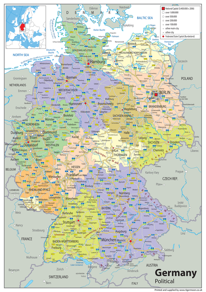Germany Political Map Tiger Moon