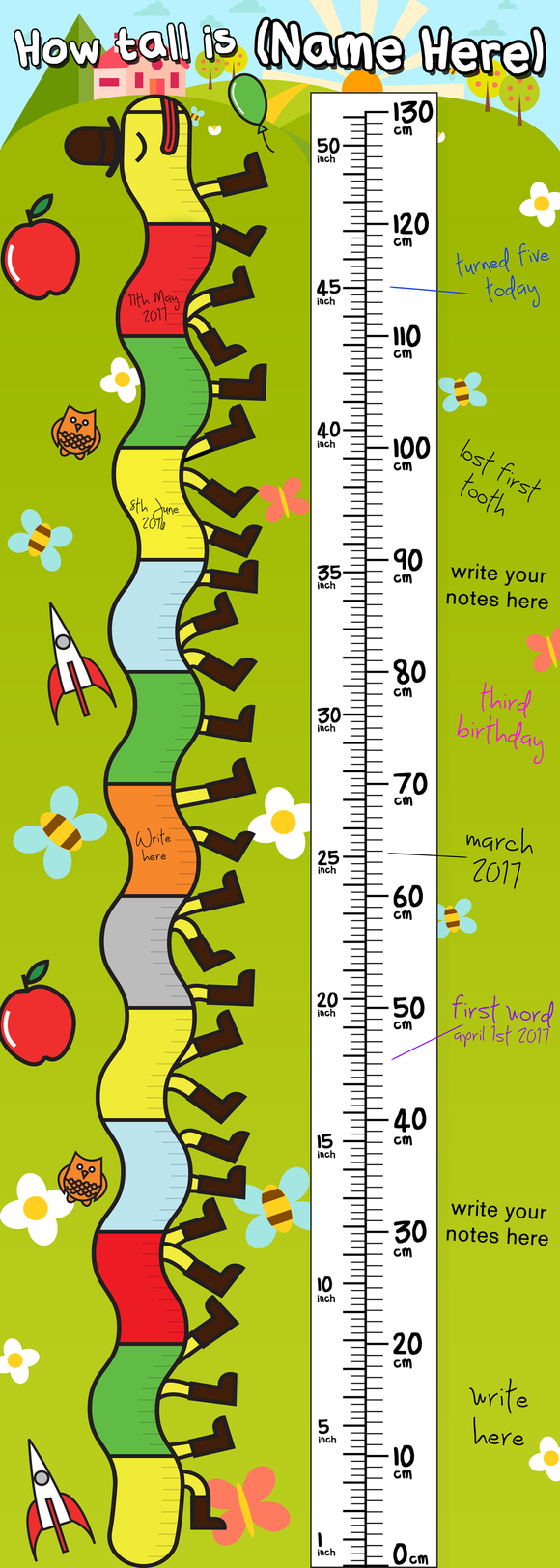 This children's height wall chart, personalised with your child's name, is perfect for keeping track of how your child grows. It's colourful and full of fun images. There are plenty of spaces to write so you can add in dates of events that have happened through the years. The height goes from 0cm to 130cm.