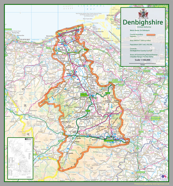 Denbighshire County Map Tiger Moon