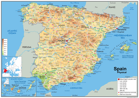 Map Of Spain For Classroom.Spain Physical Map