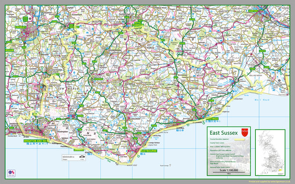 map of East Sussex, England, UK.  This map covers the towns      Battle     Brighton     Crowborough     Eastbourne‎     Hailsham‎     Hastings     Heathfield     Hove     Lewes     Newhaven     Rye     Seaford     Uckfield‎     Wadhurst‎     Winchelsea