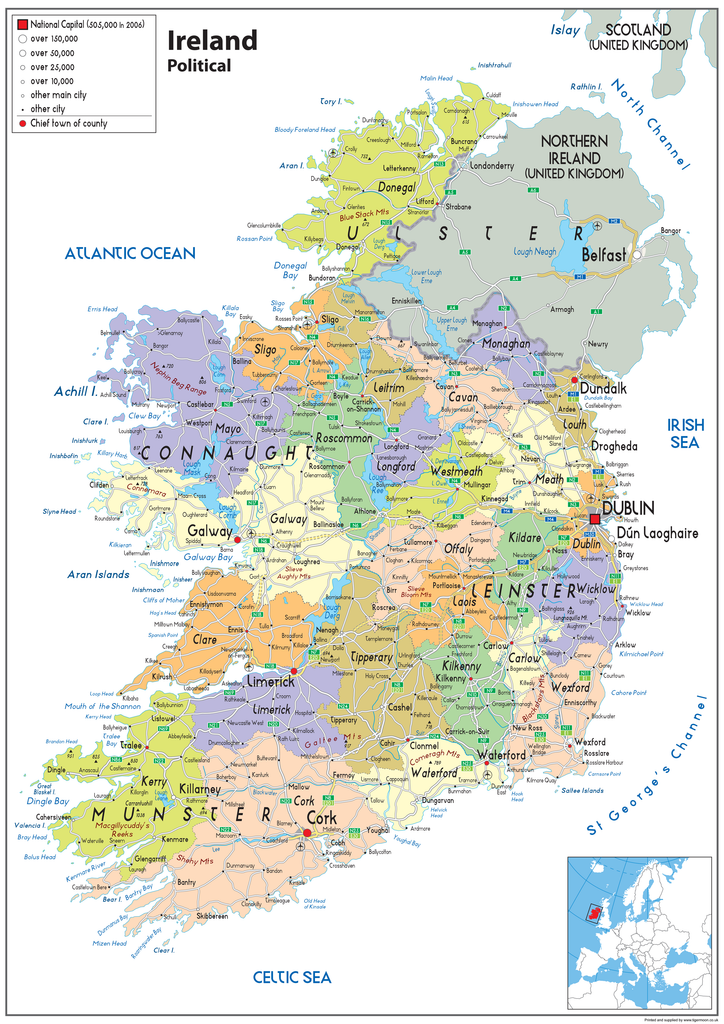 Images Of Map Of Ireland.Ireland Political Map