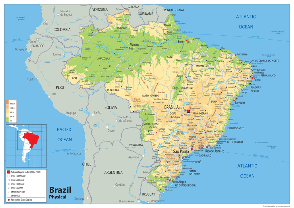 Brazil Physical Map Tiger Moon