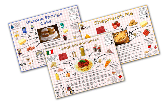 Simple Recipes For Children Poster Set - Shepherd's Pie, Spaghetti Bolognese. Victoria Sponge