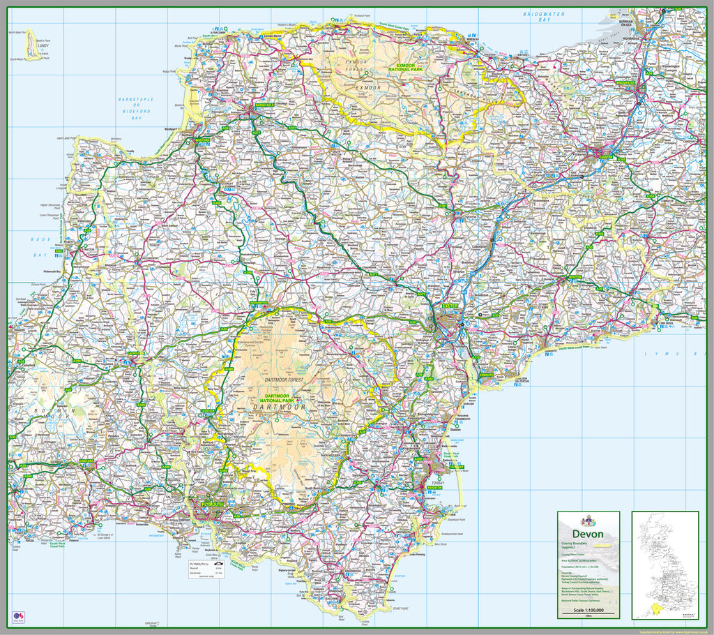 Devon 122 x 137 cm UK County Map on