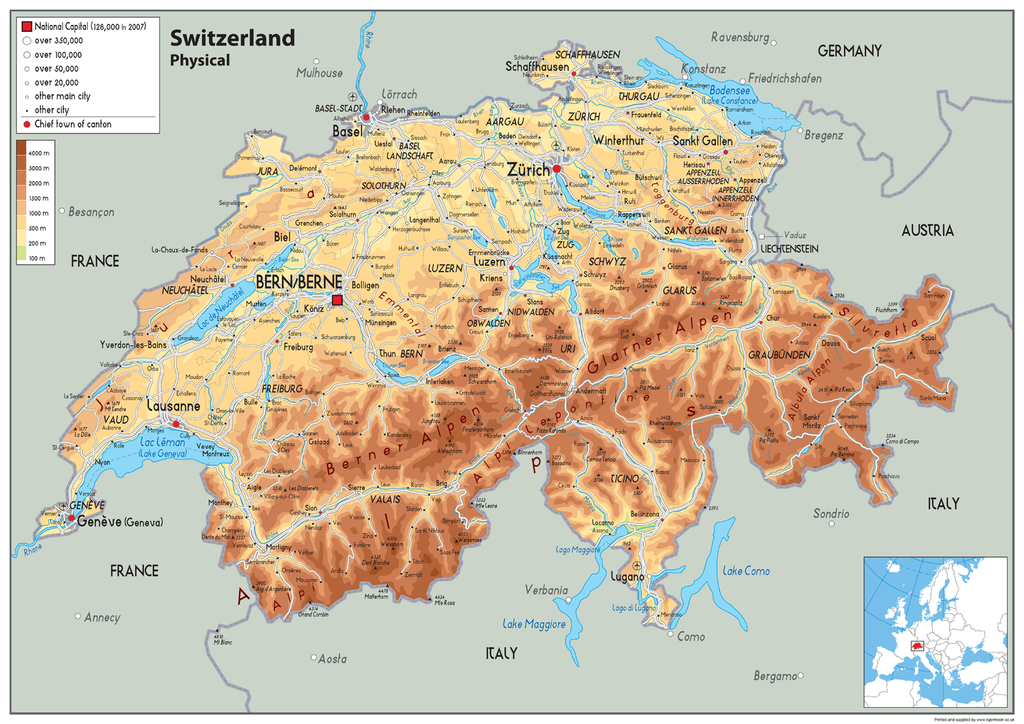 Switzerland Physical Map Tiger Moon