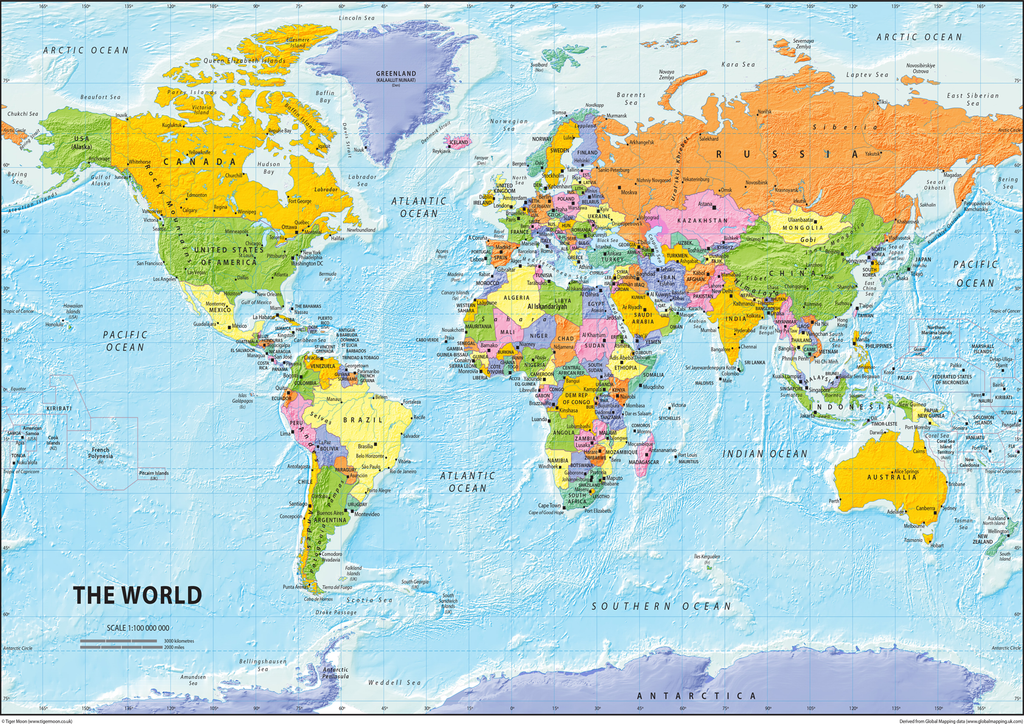 The world political map tiger moon the world political map gumiabroncs Choice Image