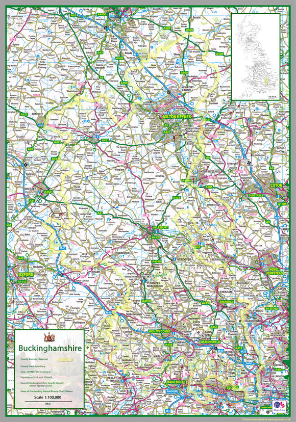 map of Buckinghamshire, a ceremonial county in England, UK.  This map covers the towns      Milton Keynes     Buckingham     High Wycombe     Amersham     Aylesbury     Chesham     Chalfonts     Aylesbury     Marlow     Princes Risborough     Olney     Towcester     Newport Pagnall