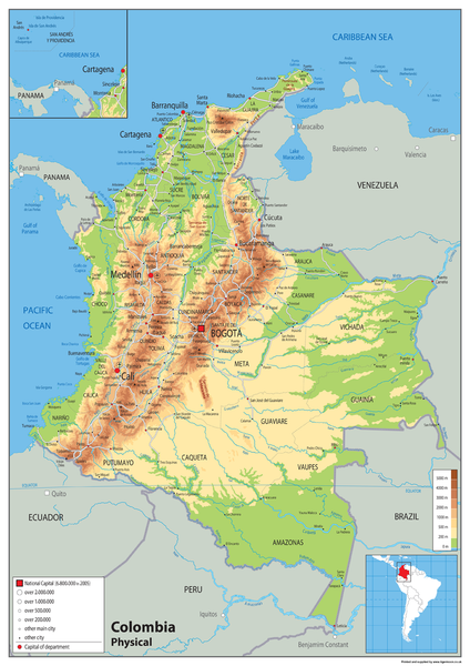 Colombia Physical Map Tiger Moon