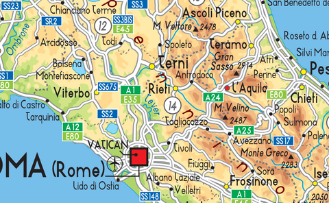 Italy Physical Map Tiger Moon