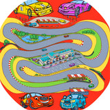 The Racing Car tuff tray mat features a winding race track with sports cars and pit stops. Perfect for individual racing or small group imaginative play. Designed to fit in the Tuff Tray or the Tuff Spot.