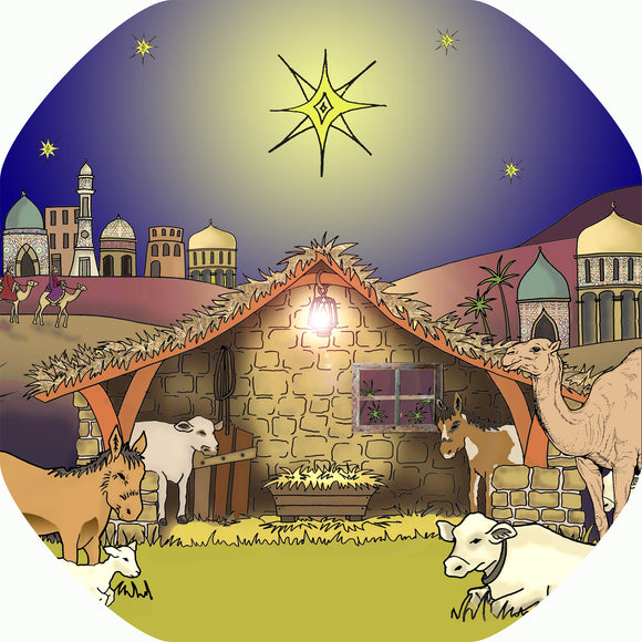 This Nativity mat is ideal for use with a Tuff Tray. Use it a festive base for Christmas craft activities and messy play, or add your own nativity characters to tell the story together in the stable under the Star of Bethlehem.  Printed onto a high quality, durable vinyl material.  86cm x 86cm (approx )  Designed to fit in the Tuff Tray or the Tuff Spot.