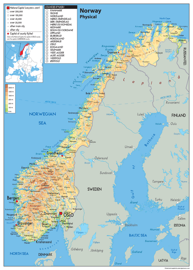 Norway Physical Map – Tiger Moon