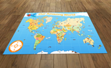 This illustrated map of the world is suitable for use with programmable floor robots such as Bee-Bots. It features a 15 cm grid overlay, place names and images relating to each country and can be used on the floor individually or as a group in the classroom.  120 x 180 cm  A Bee-Bot is a small programmable robot which introduces children to the concept of teaching directional language and creating simple programs. Children can develop, test, debug and retest sequences of code to reach their aims.